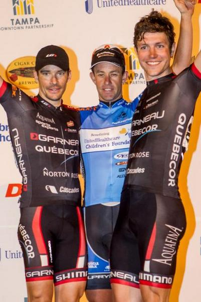 Michael Chauner and teammate, Bruno Langlois, of Garneau Quebecor, take the second two podium spots in the Cigar City Brewing Criterium.